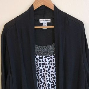 Blouse Tank with Attached Cardigan- 3X